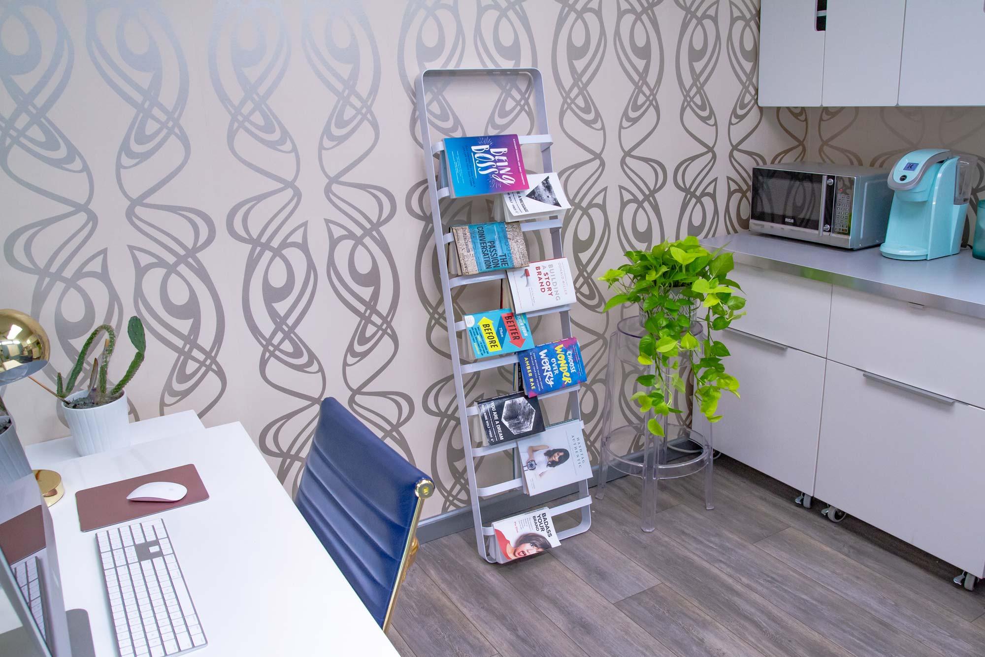 DesignGood HQ inspirational book shelf