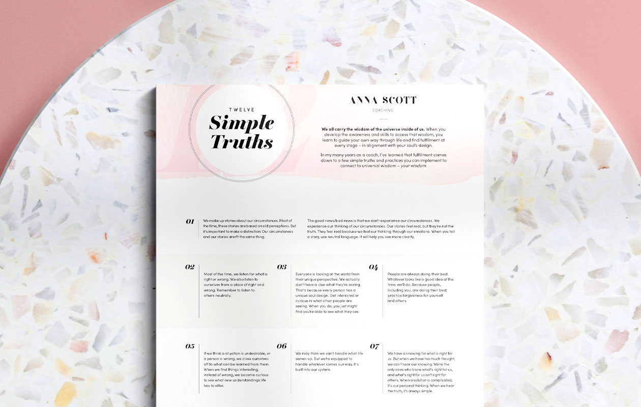 Mockup of Twelve Simple Truths PDF
