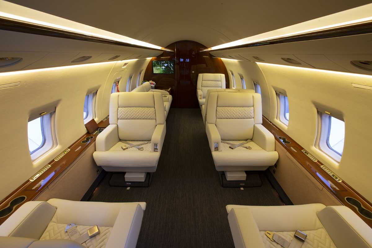 The interior of a private jet