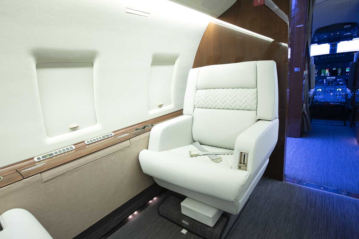 Comfortable seating in a private jet cabin