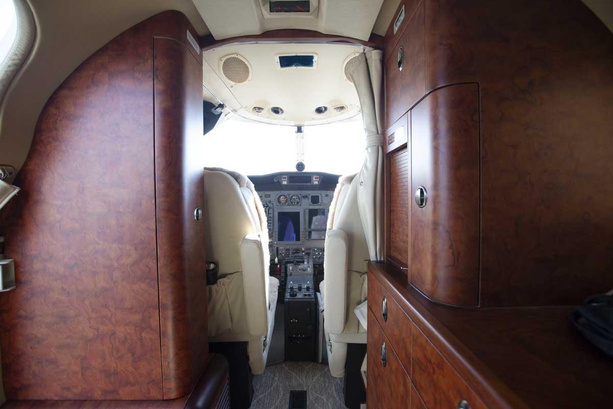 Custom wooden interior of jet cabin