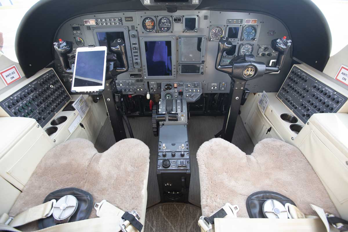 The cockpit of a private jet