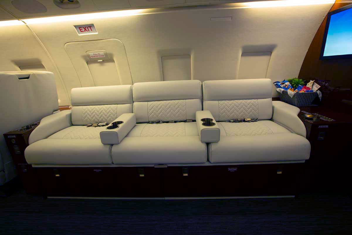 Custom interior private jet cabin seating
