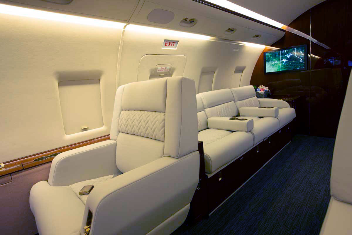 Cabin seating in a private jet