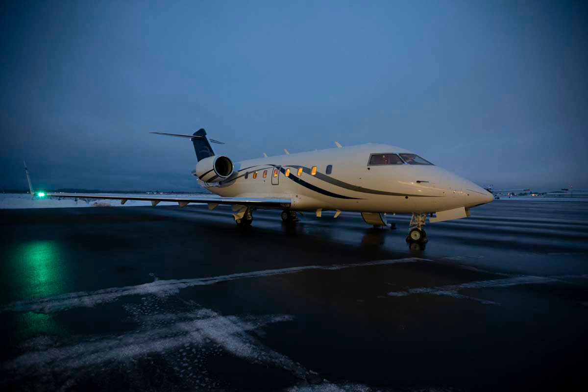 A private jet on a runway