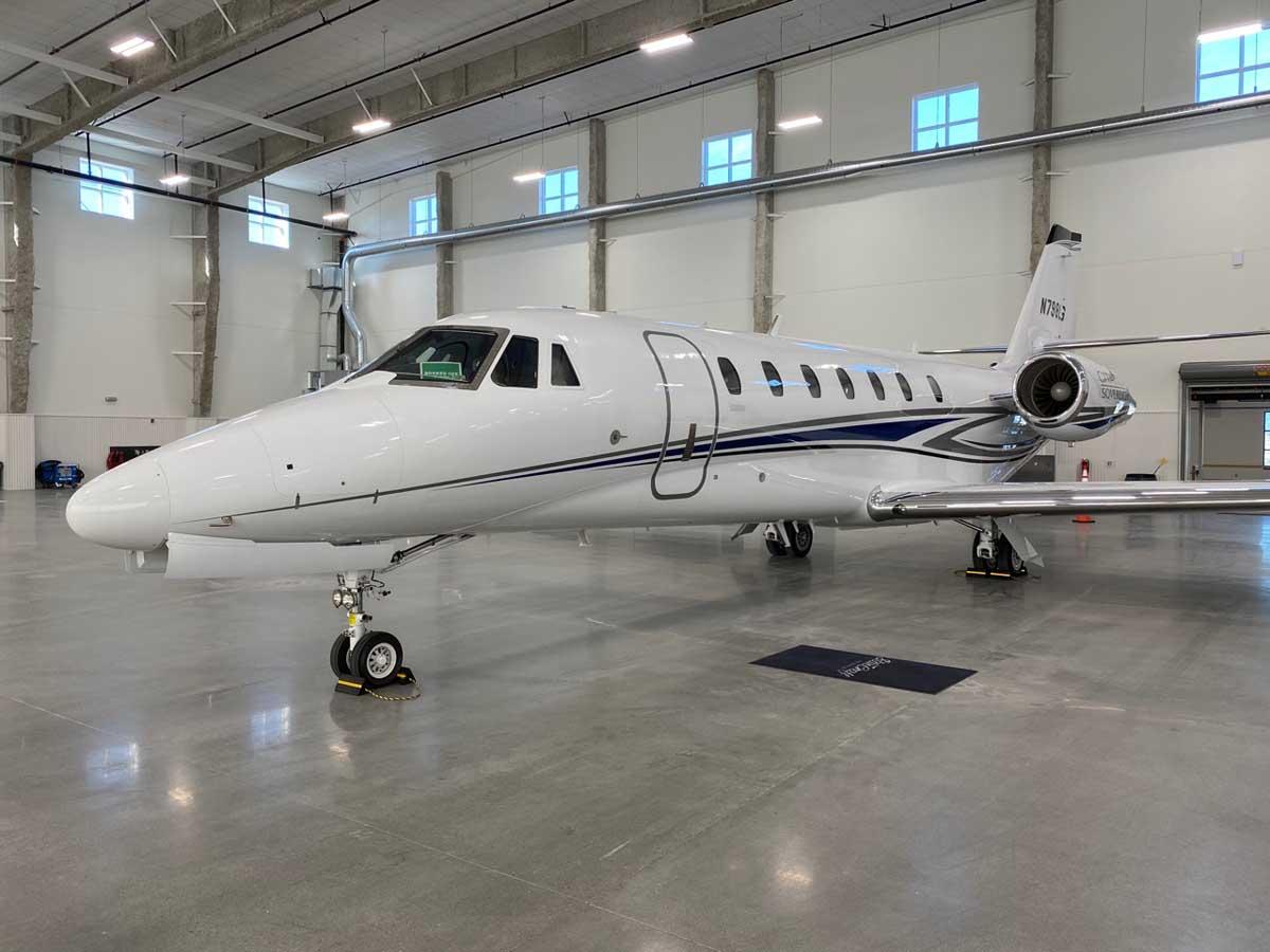 Private jet in a hangar