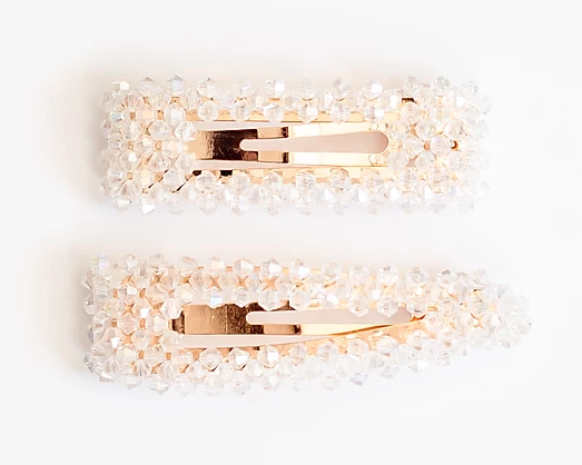 Crystal Snap Clip- White