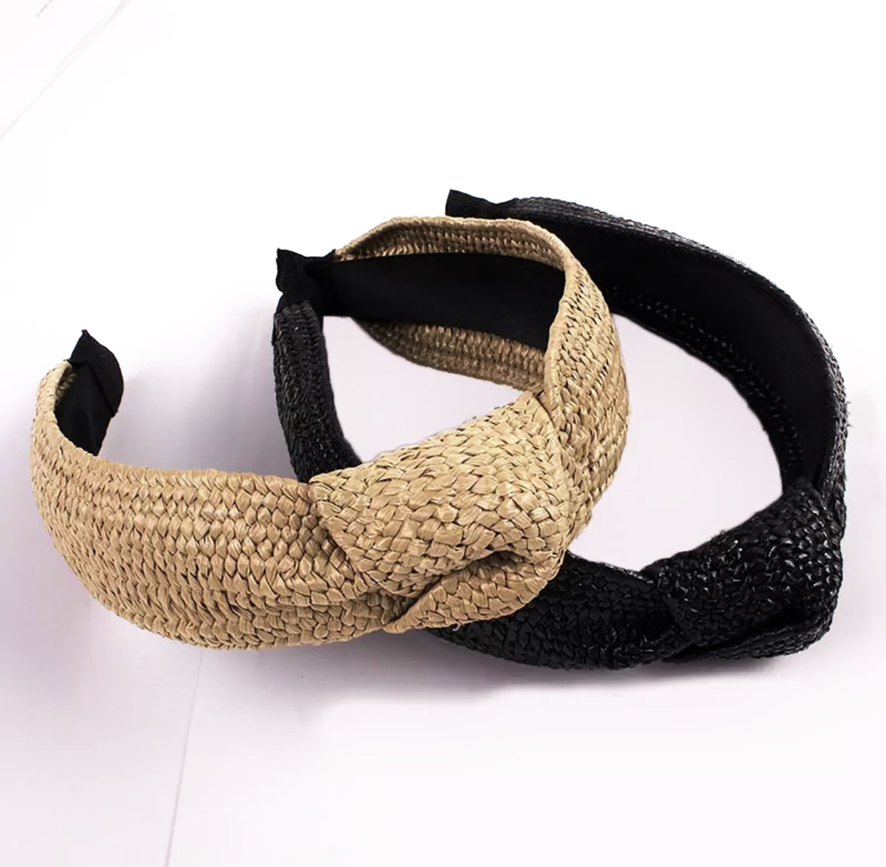 Assorted Straw Cross Knot Headbands (Black In Stock Only)