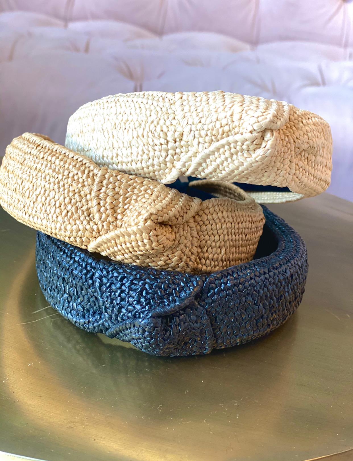 Assorted Straw Cross Knot Headbands (Tan/Black/Beige)