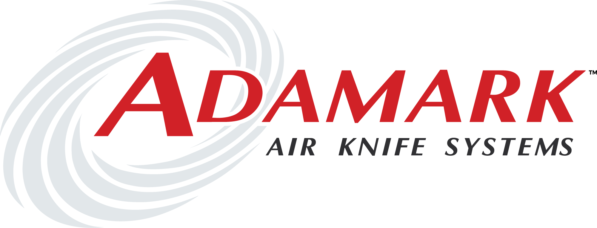 A logo for Adamark Air Knife Drying