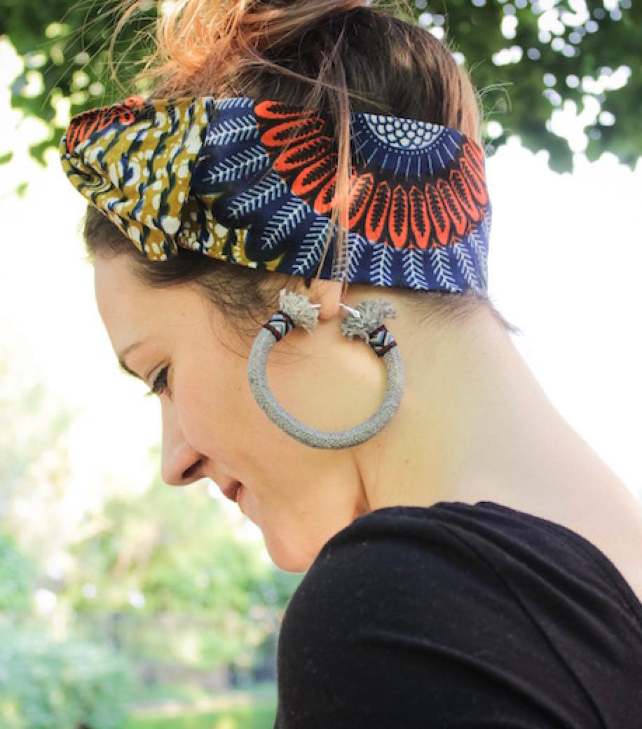 Grey Gypsy Hoop Earrings