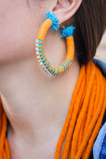 Turquoise & Orange Oversized Hoop Earrings