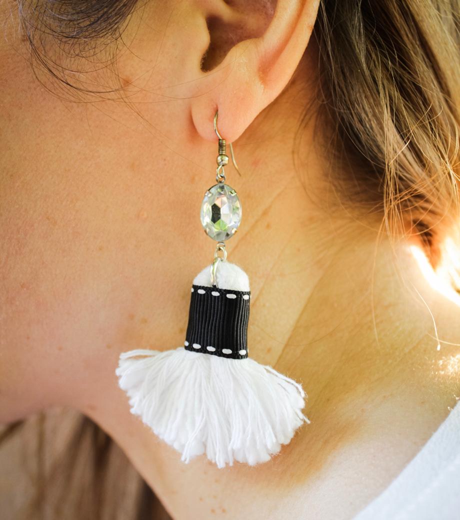 Ebony & Ivory Tassel Earrings