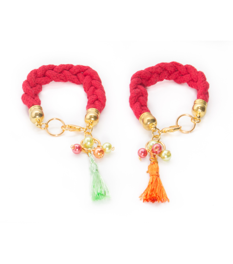 UDON Red Woven Bracelet with Tassel