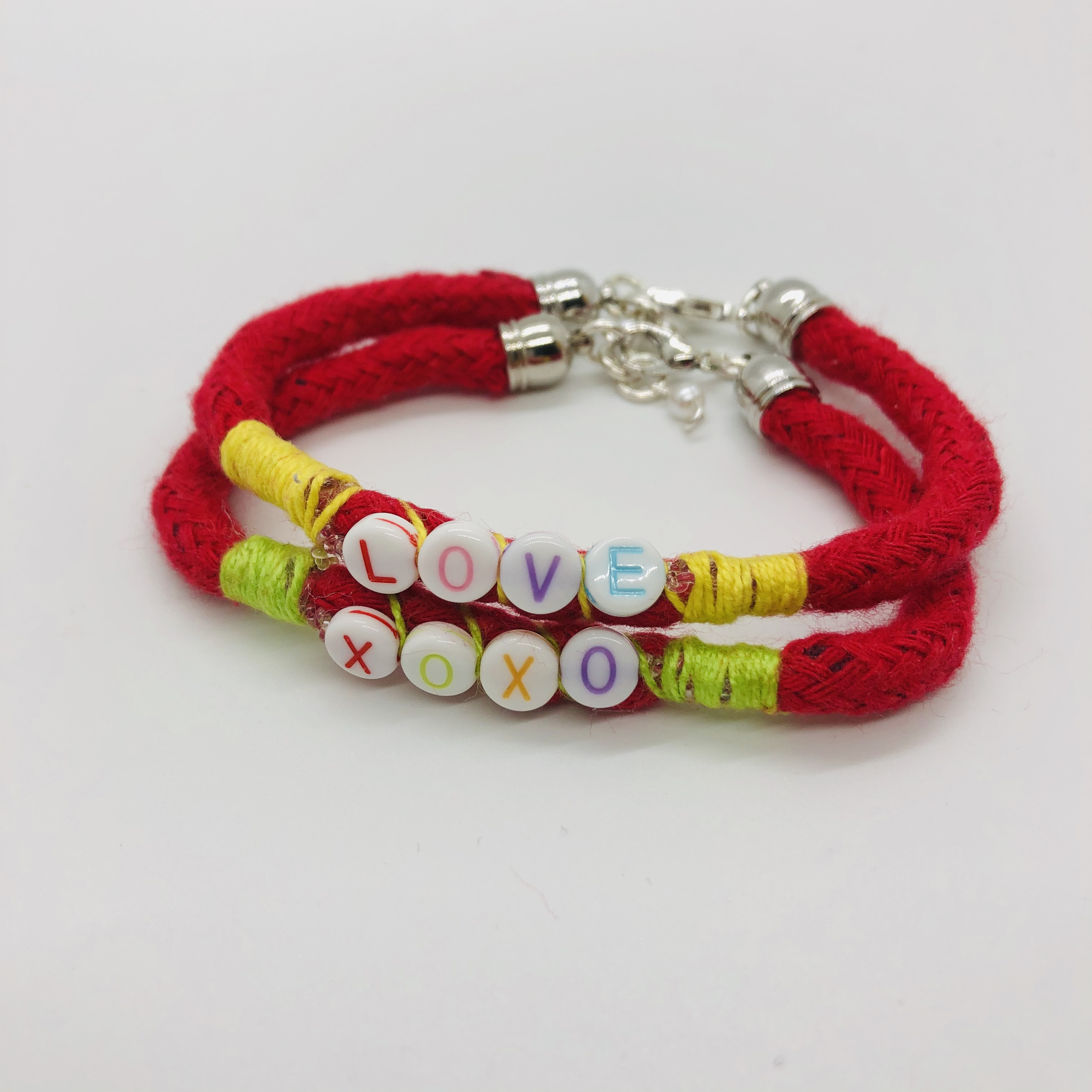 Positive Vibes Bracelets set of 2. Love and XOXO.