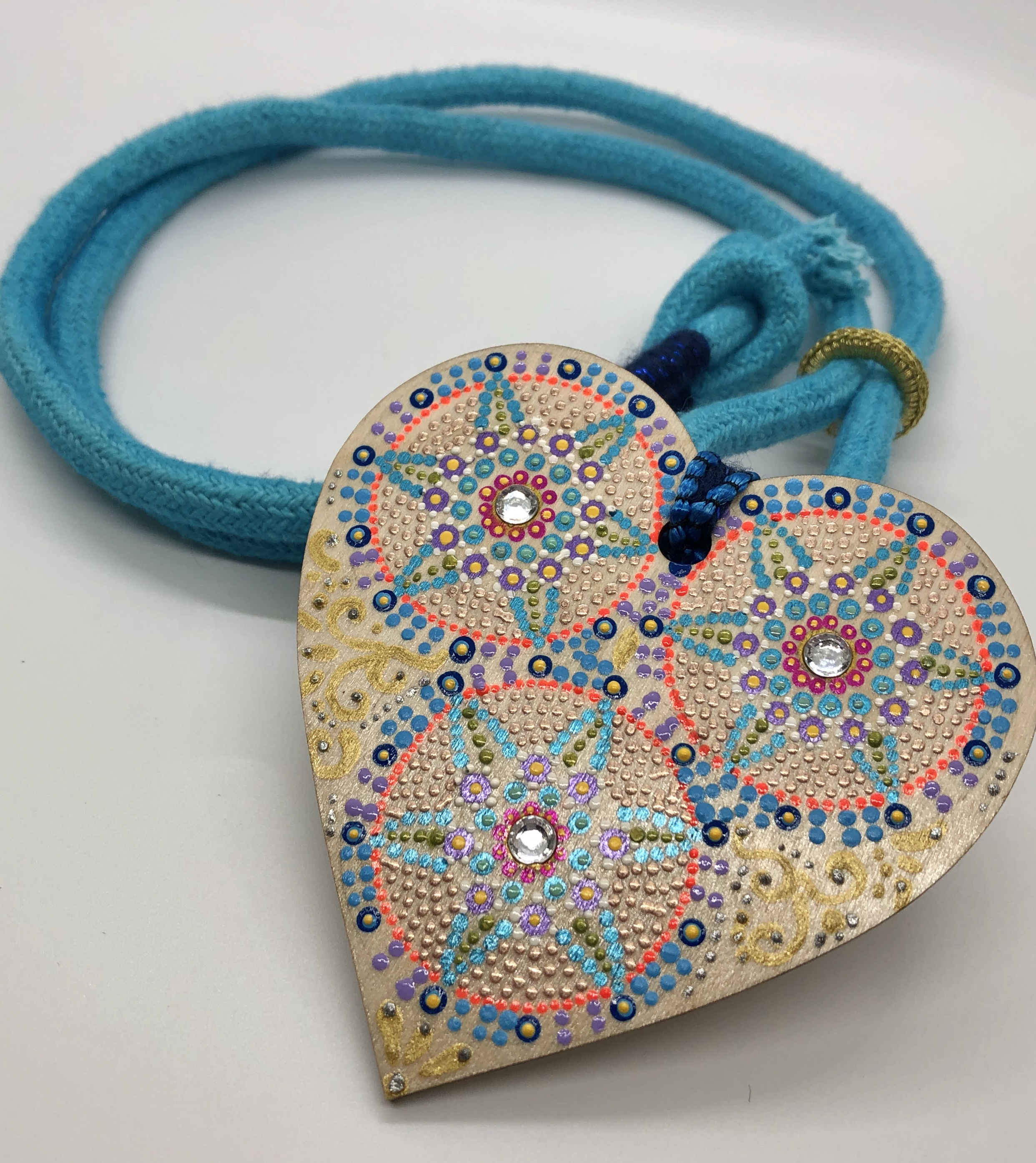 """Corazones"" Pendant Necklace - Turquoise Blue"