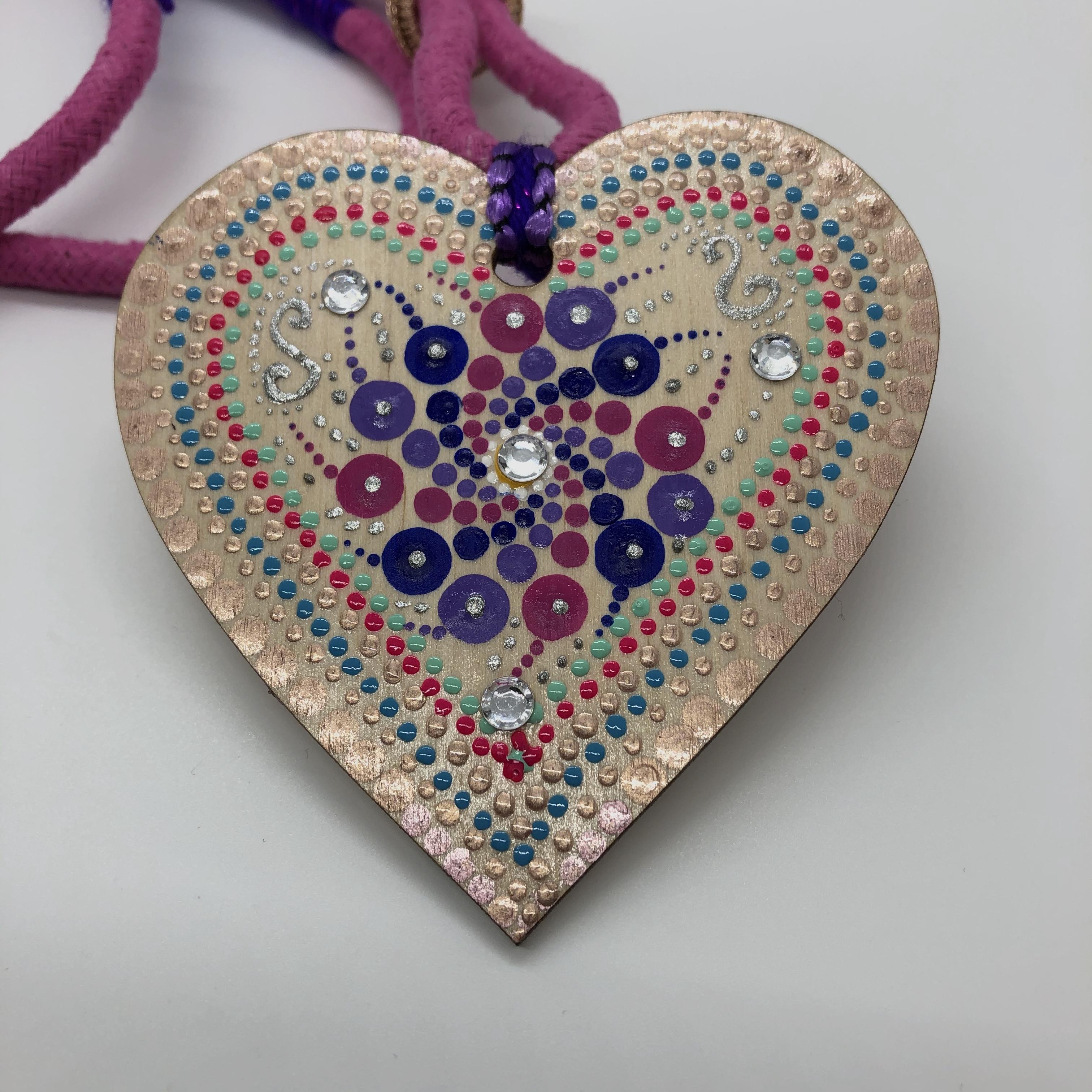 """Corazones"" Pendant Necklace - Pink and Purple"