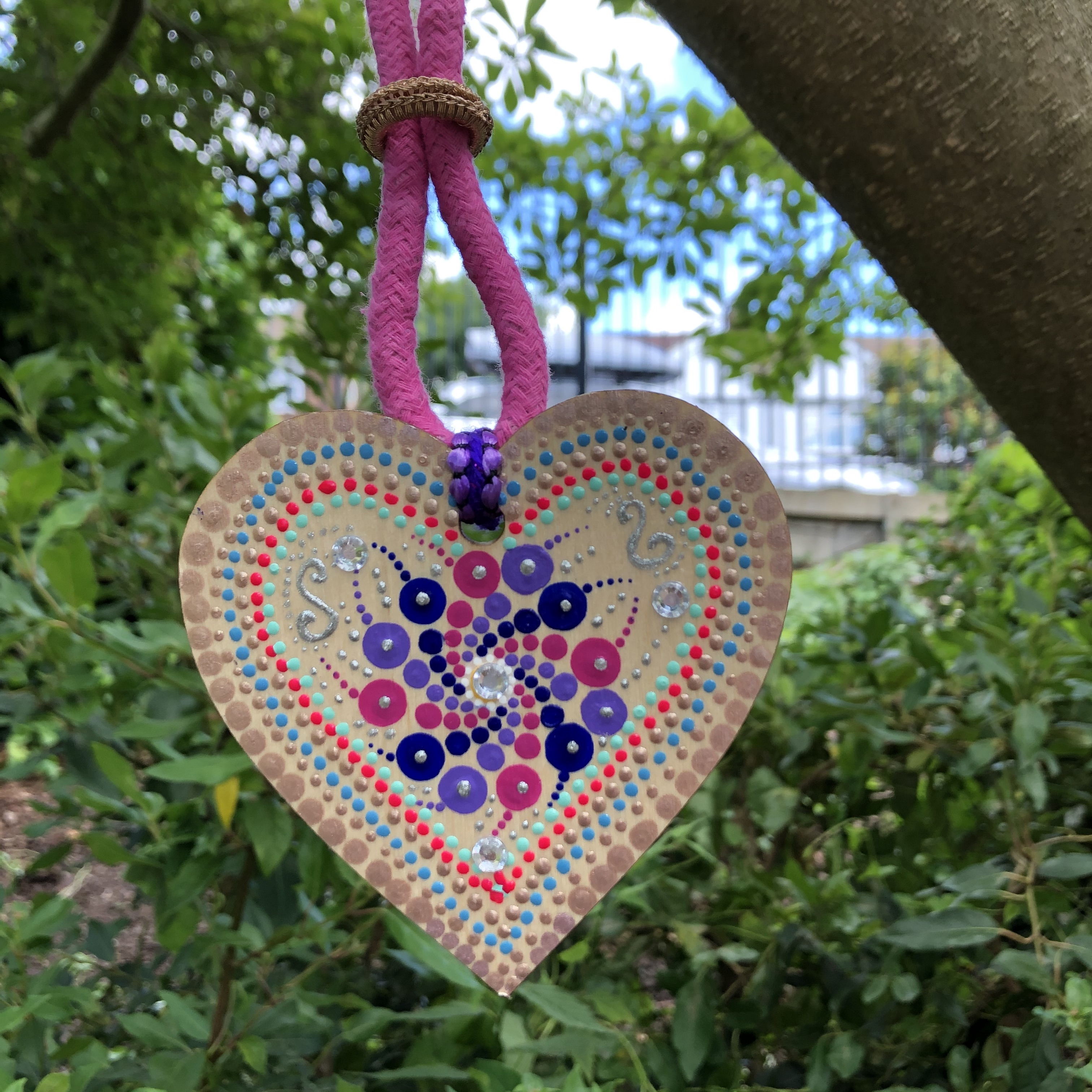 """Corazones"" Pendant Necklace - Pink and Purple"