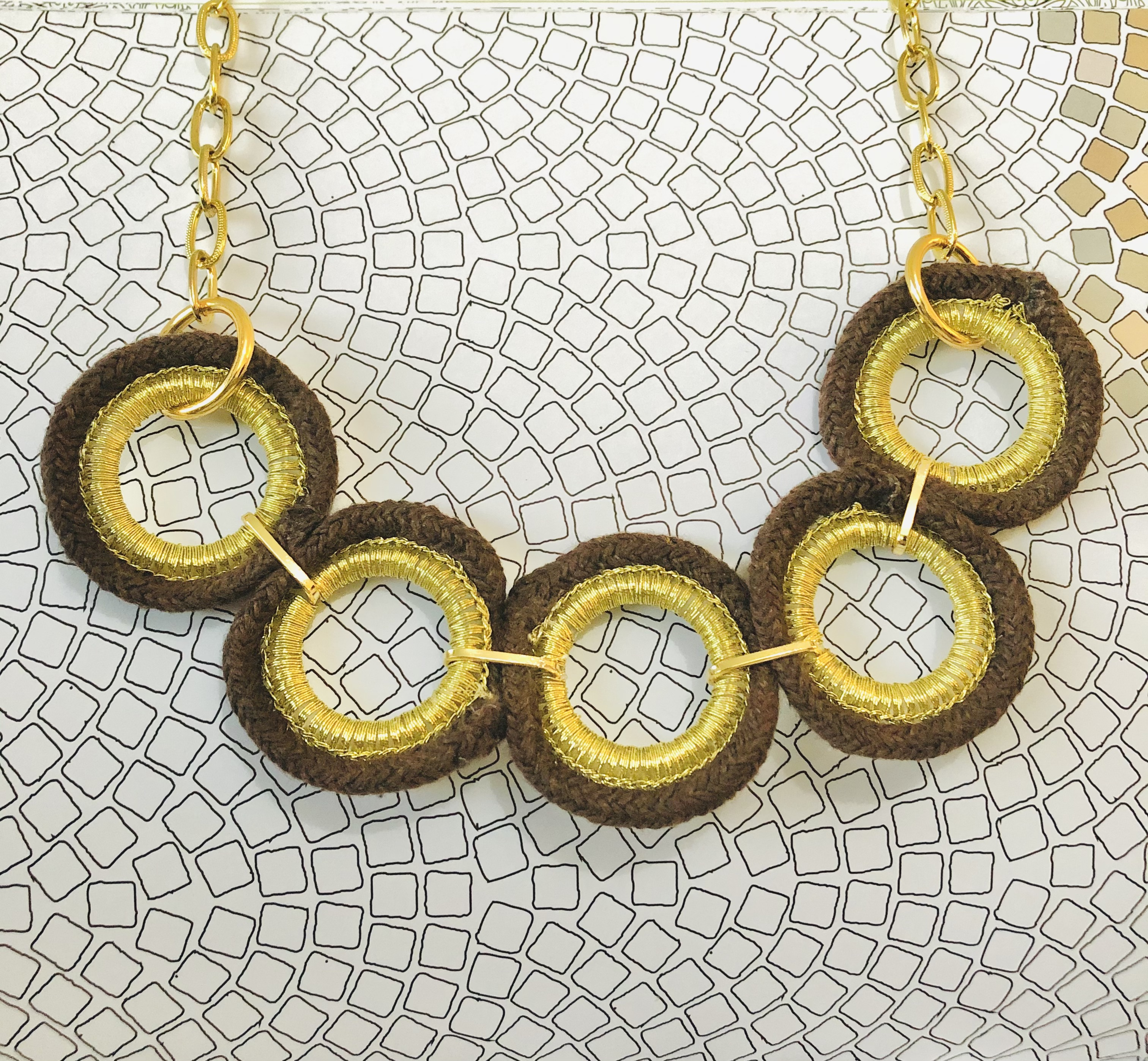 Brown & Gold Chain Necklace