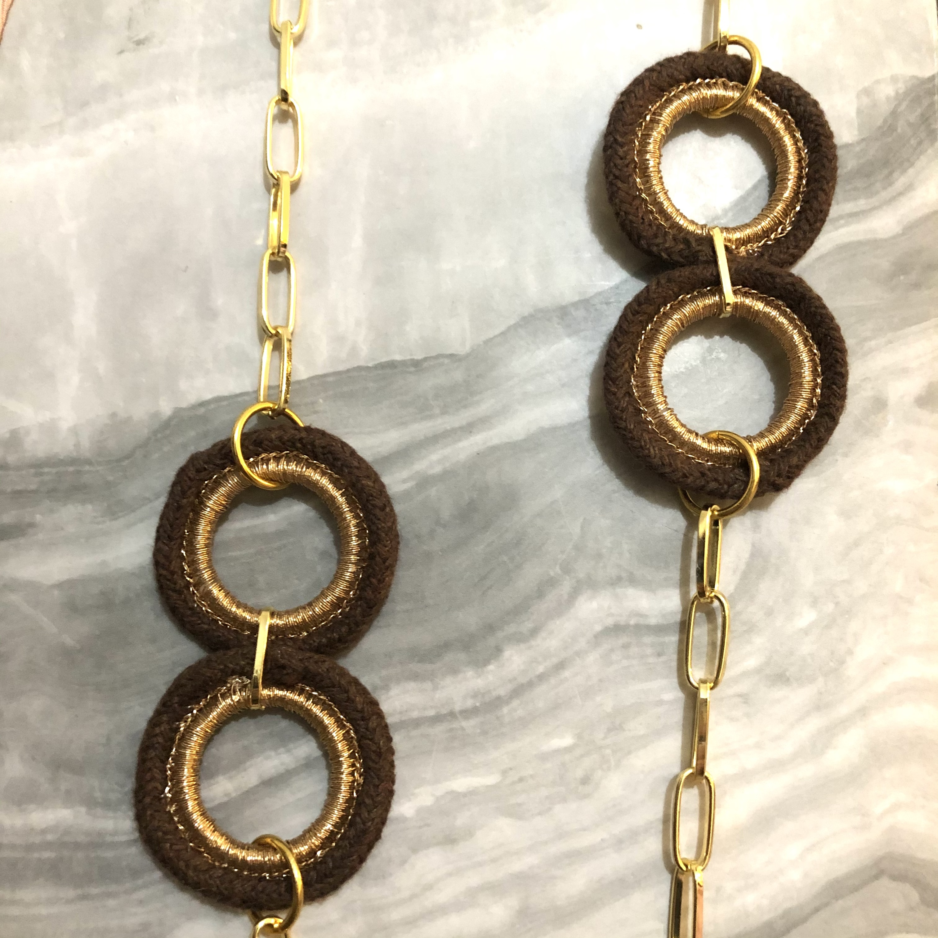 Long Chain Necklace with Brown Hoops