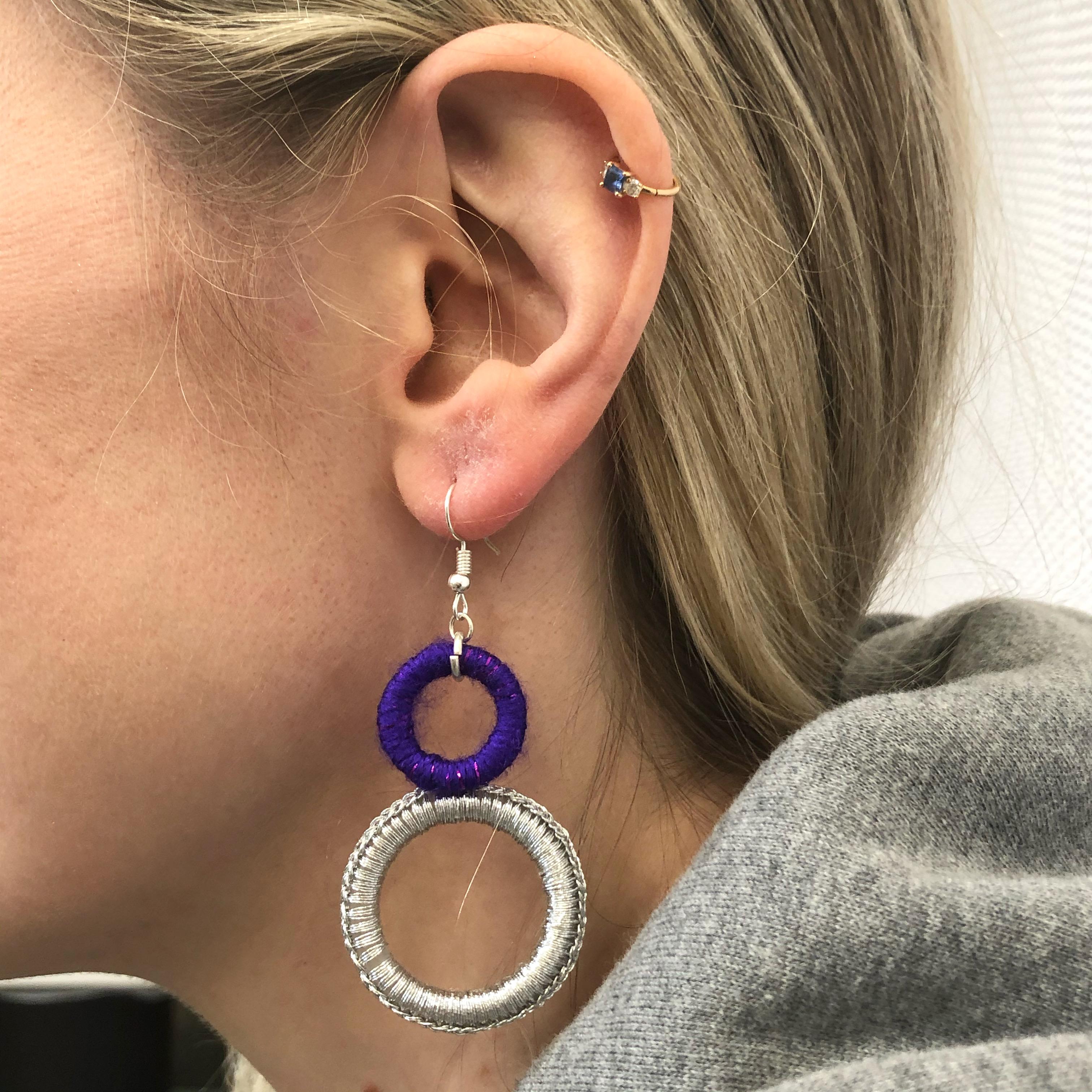 Double Hoop Earrings - Purple & Silver