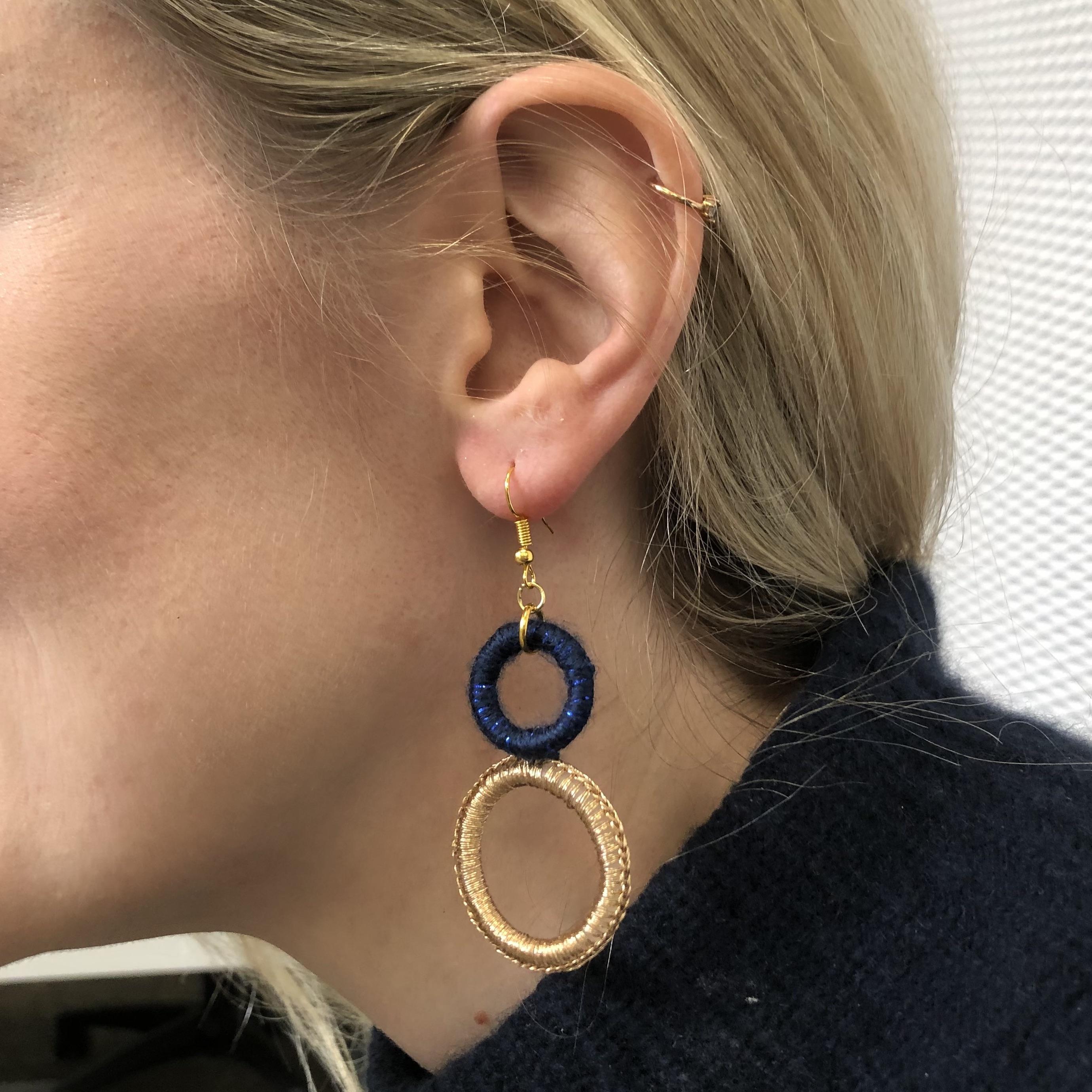 Double Hoop Earrings Blue & Copper