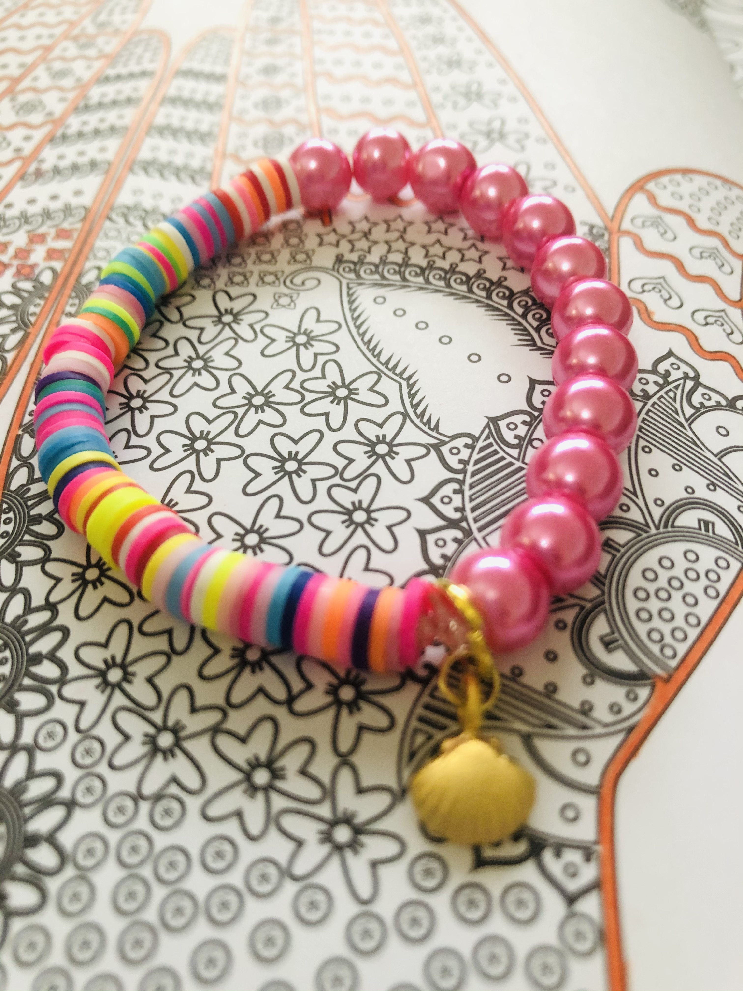Multicolor Half & Half Bracelet with Pink Pearls