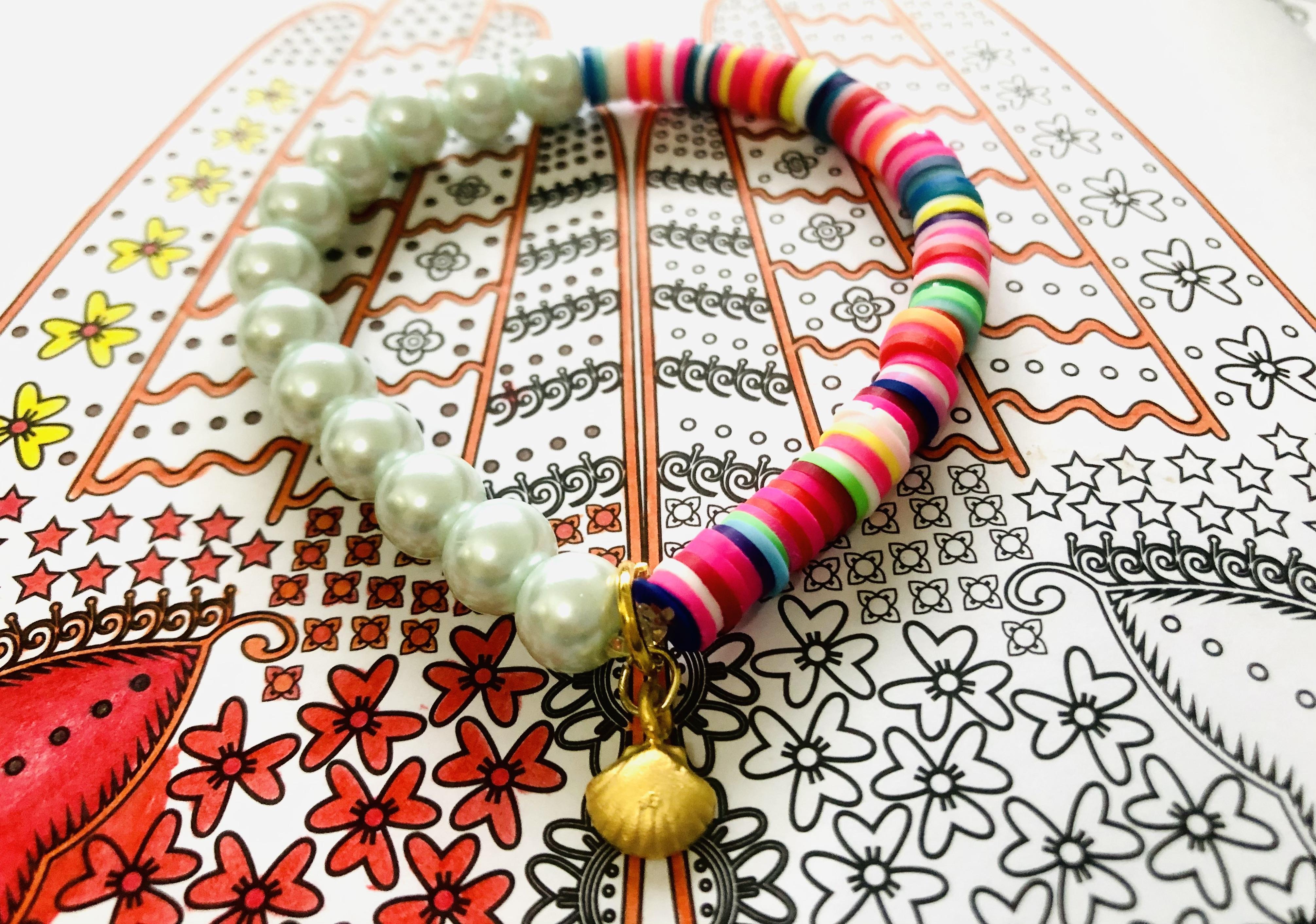 Multicolor Half & Half Bracelet with Pale Blue Pearls