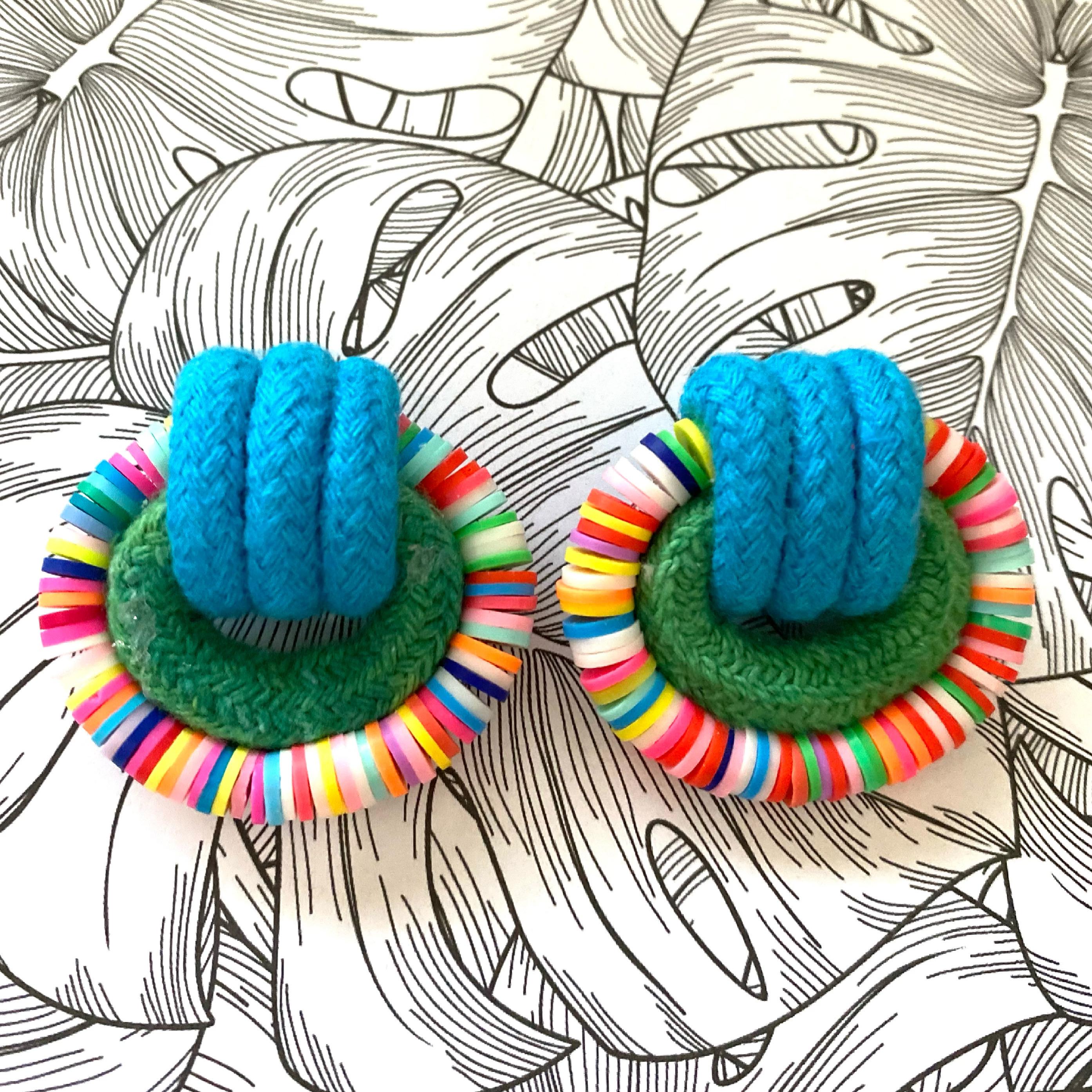 Candy Land Earrings - Green & Blue