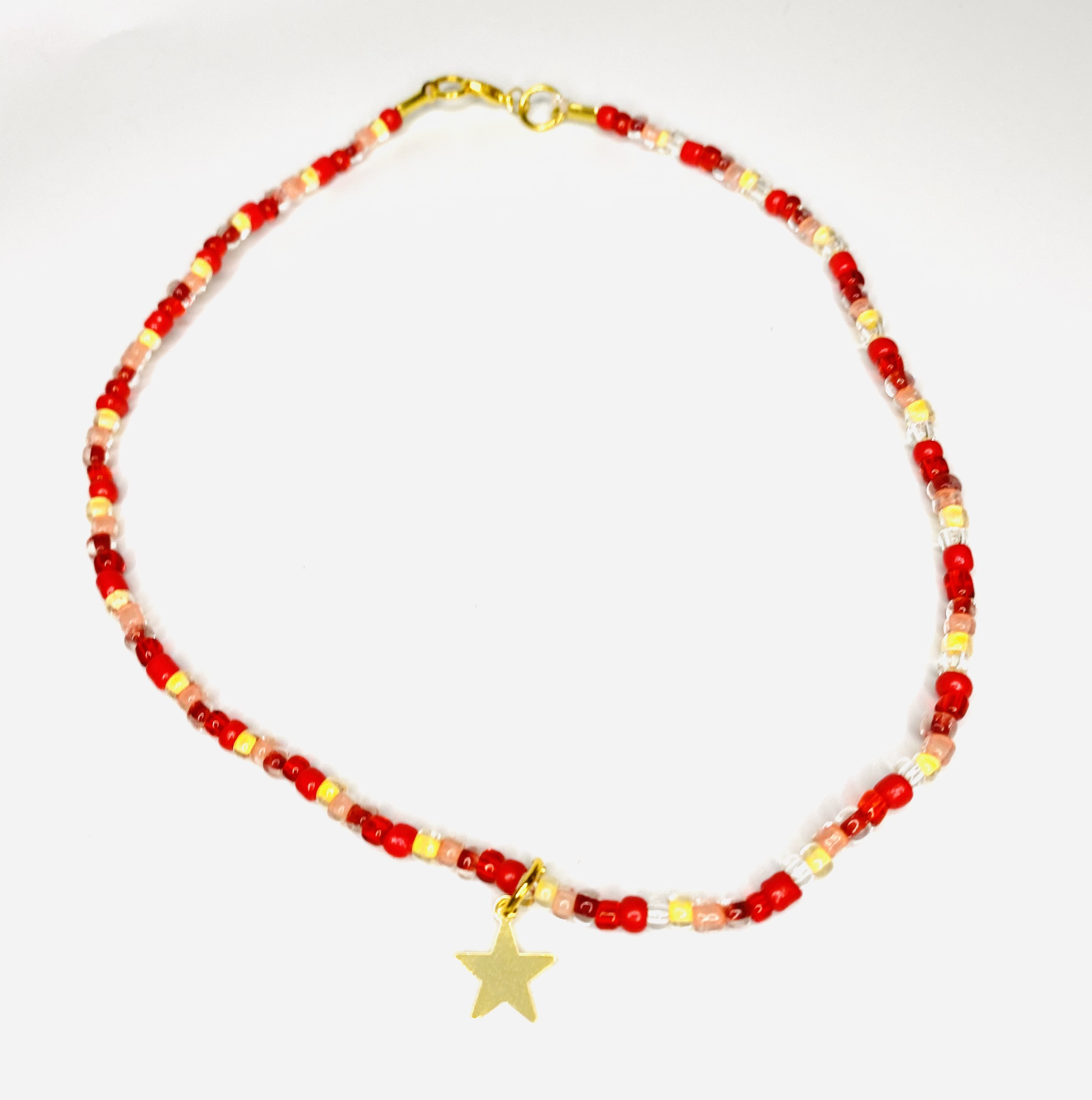 Beaded Red & Yellow Necklace with Star Charm