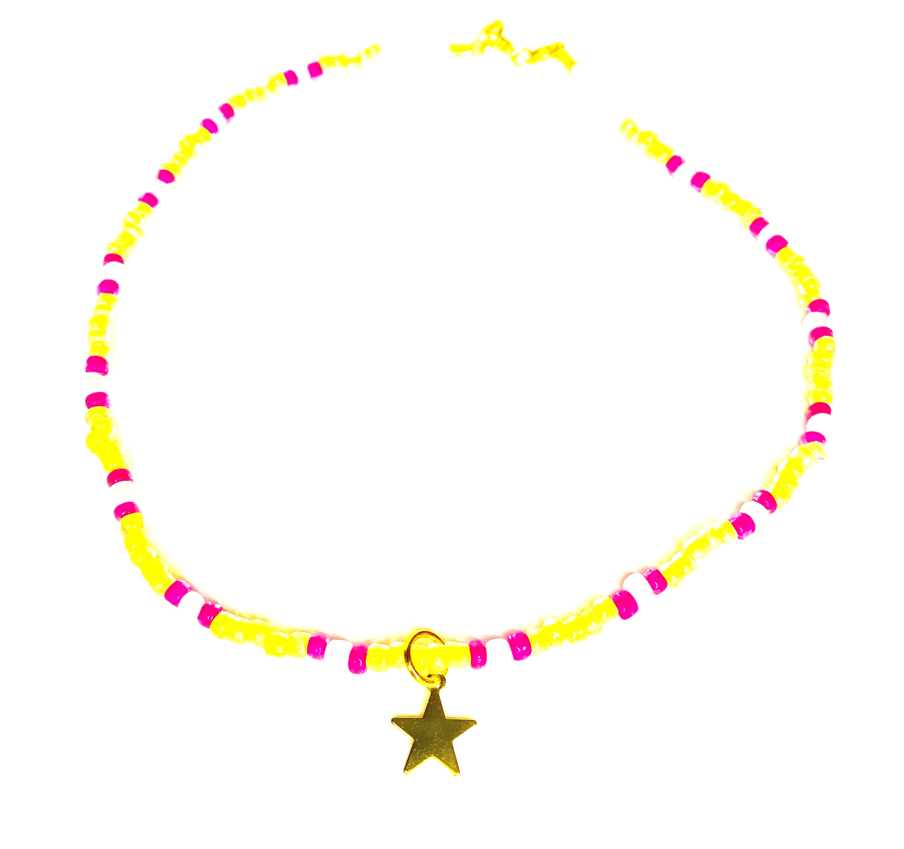 Beaded Yellow Necklace with Pearls and Star Charm