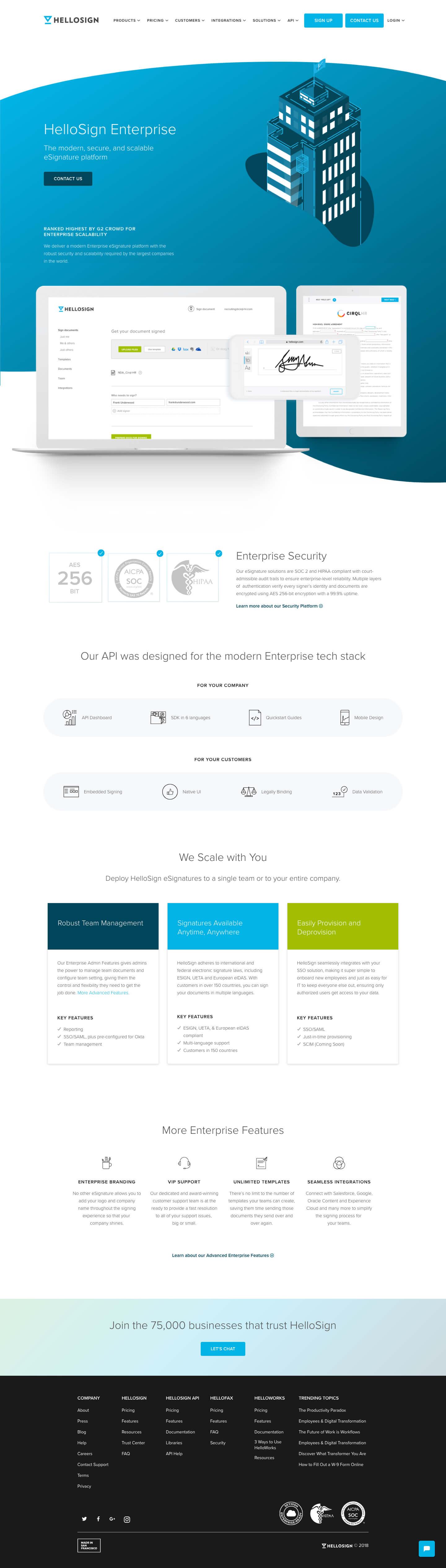 Finsweet Webflow development for HelloSign Enterprise