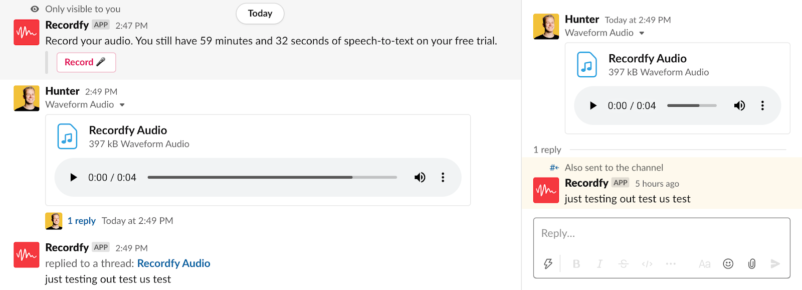 Recordfy voice messaging for slack