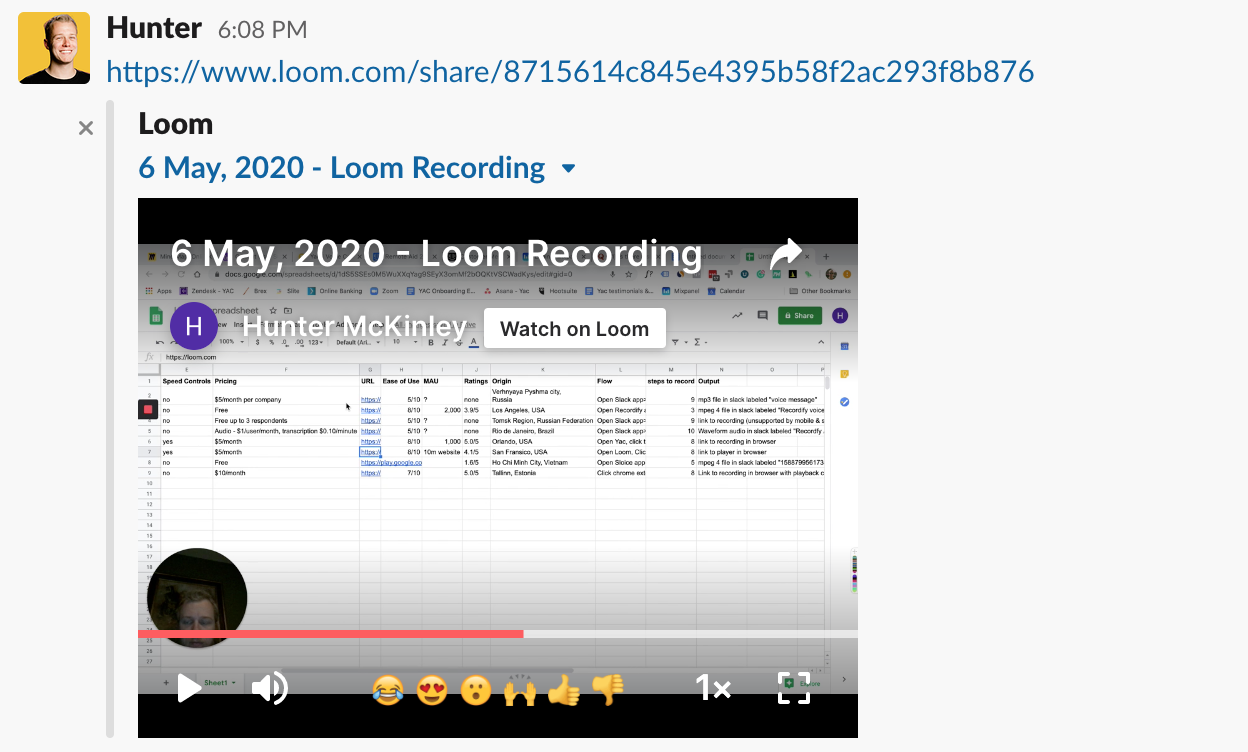 Loom Slack Voice message desktop