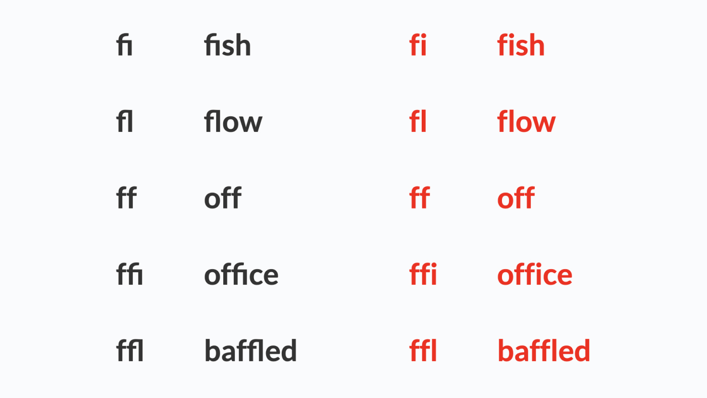 Removing font Ligature