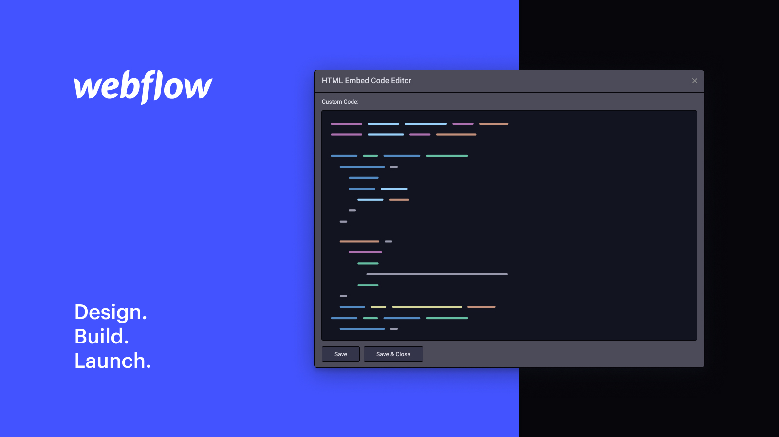 Webflow custom code snippets you would use. Episode 1