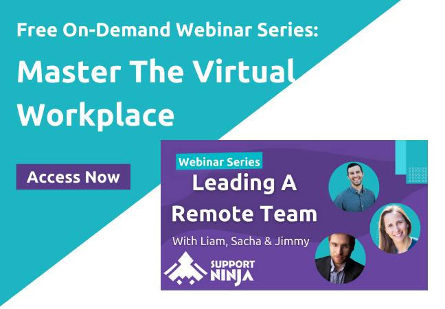 Promotion of SupportNinja's free on-demand webinar series about mastering the virtual workplace.