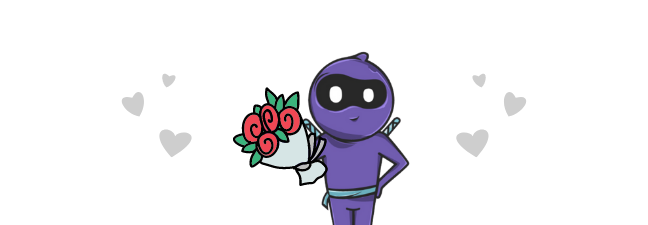 Hiro the Ninja holding a bouquet of flowers for customers.