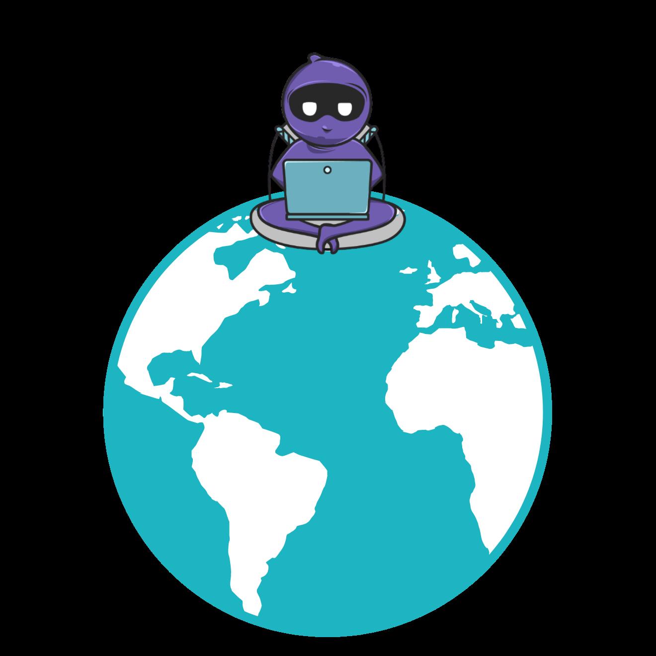 A Ninja sitting on top of the world.
