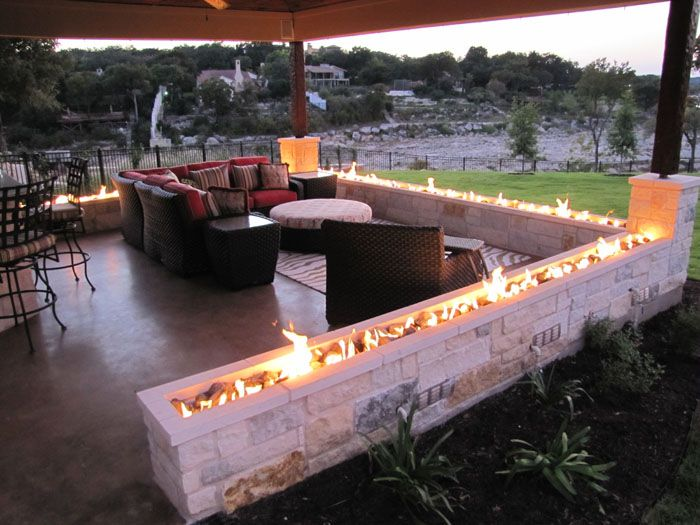 Fire perimeter wall adds warmth and beauty