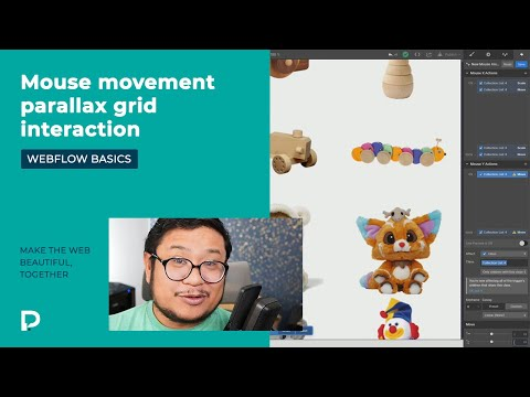 Mouse movement parallax grid interaction - Webflow tutorial (2021)