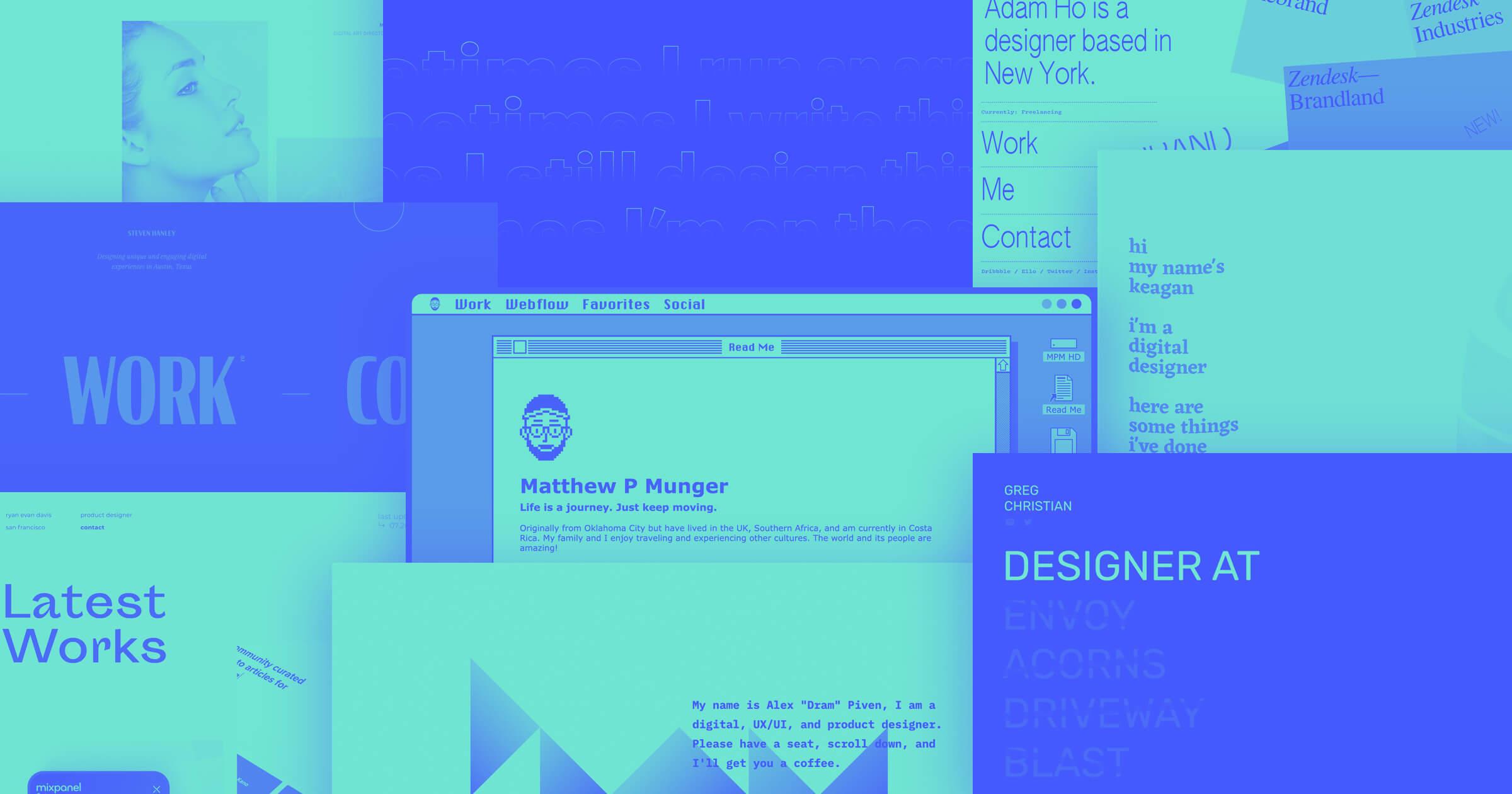 27 unique design portfolio examples built in Webflow