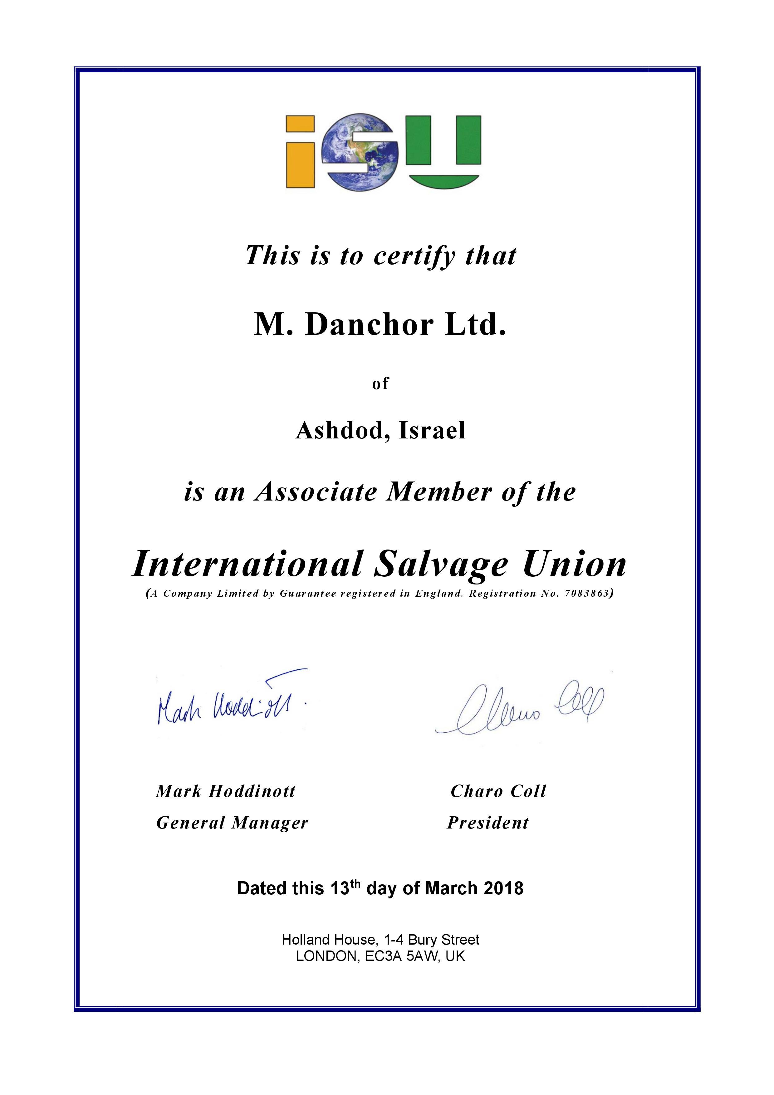 ISU Certification