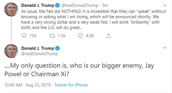 Trump tweets: 'Who is our bigger enemy,' Fed's Powell or China's Xi?