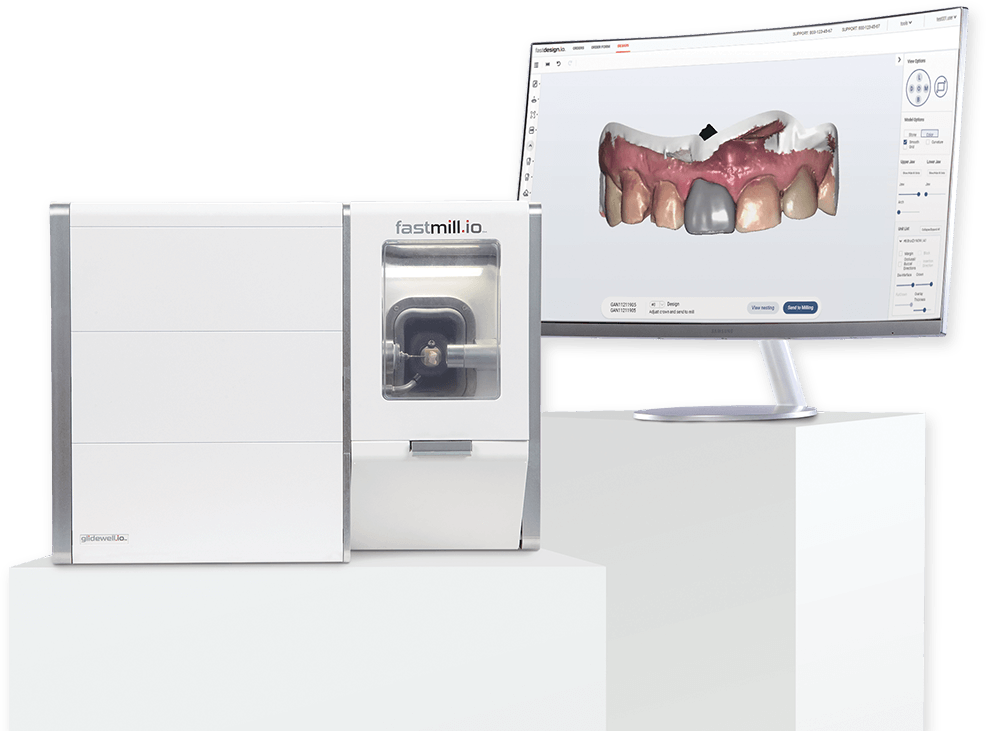 fastmill.io machine with image of teeth