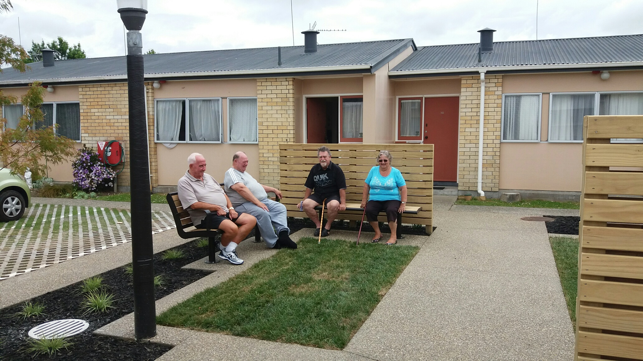 Tenants sitting in the communal area at Peachgrove Road