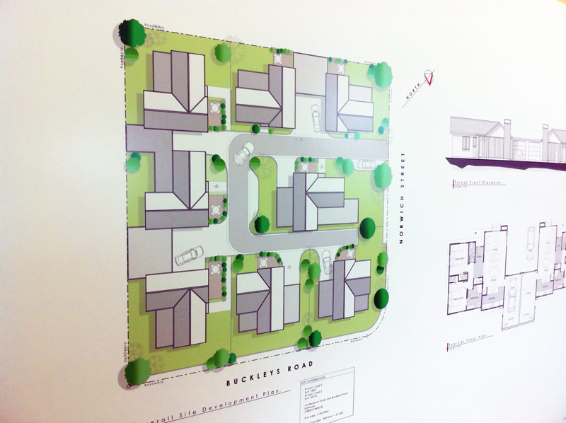 Image of plan for housing on Buckleys Road
