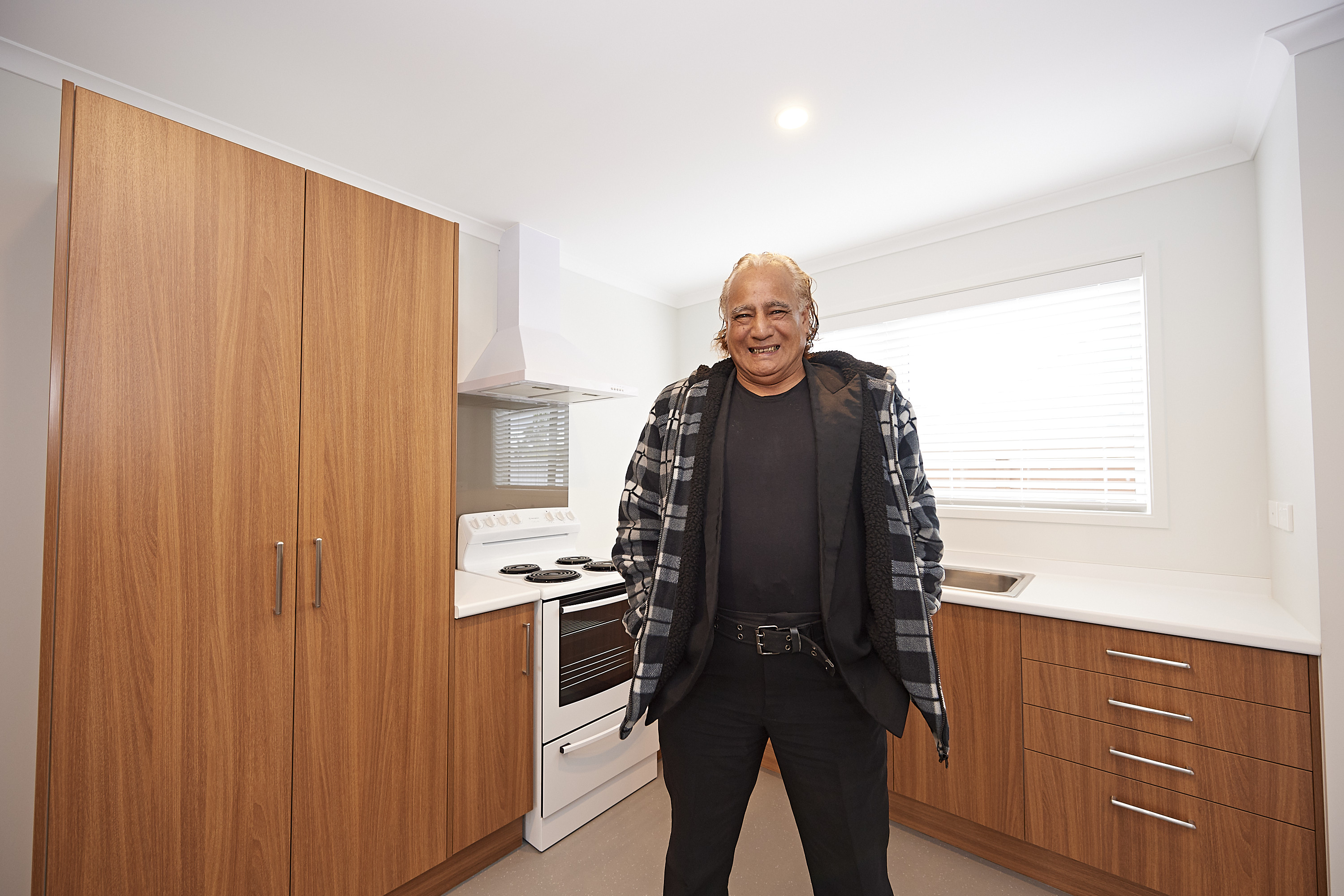 Tenant Raymond Holloway in his new home