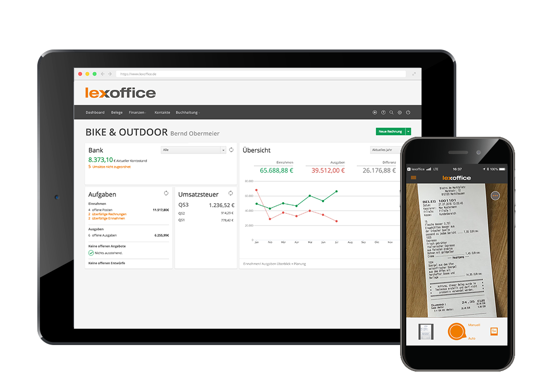 Tablet und Mobile Belegscan per App mit lexoffice