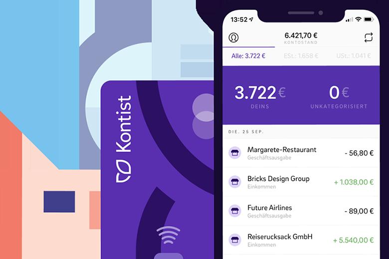 Illustration Kontist App auf Smartphone mit Kontoübersicht